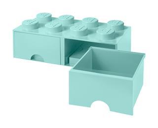 LEGO 40061742 - LEGO dupla fiókos tároló - Nagy, 2x4, türkiz
