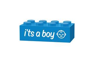 LEGO GLK003 - LEGO gravírozott kocka - It's a boy (világoskék)