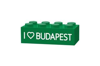 LEGO GLK016 - LEGO gravírozott kocka - I LOVE Budapest (sötétkék)
