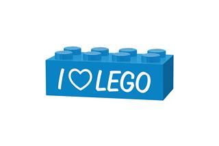 LEGO GLK039 - LEGO gravírozott kocka - I love LEGO (világoskék)
