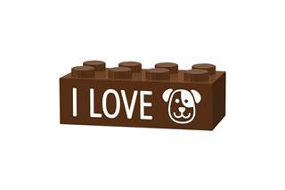LEGO GLK040 - LEGO gravírozott kocka - I love dogs (sötétbarna)