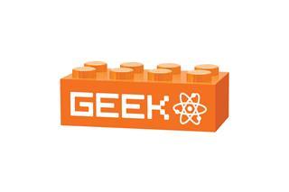 LEGO GLK056 - LEGO gravírozott kocka - GEEK (narancssárga)