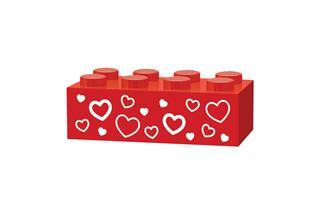 LEGO GLK066 - LEGO gravírozott kocka - Szivecskék (piros)