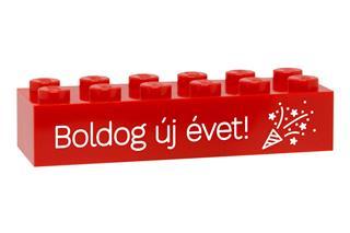 LEGO GLK073 - LEGO gravírozott kocka - Boldog új évet! (piros)