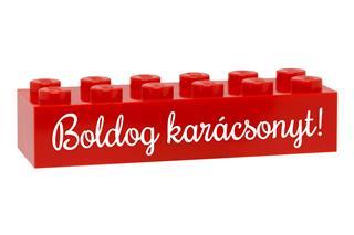 LEGO GLK074 - LEGO gravírozott kocka - Boldog karácsonyt! (piros)