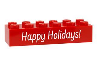 LEGO GLK075 - LEGO gravírozott kocka - Happy Holidays (piros)