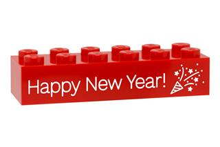 LEGO GLK076 - LEGO gravírozott kocka - Happy New Year! (piros)