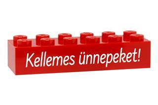 LEGO GLK077 - LEGO gravírozott kocka - Kellemes ünnepeket! (piros)