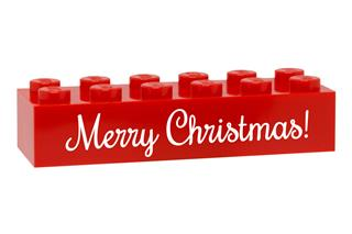 LEGO GLK078 - LEGO gravírozott kocka - Merry Christmas! (piros)
