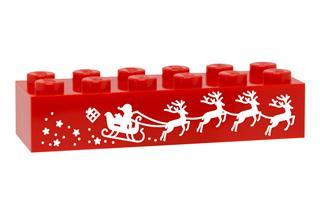 LEGO GLK079 - LEGO gravírozott kocka - Télapó (piros)