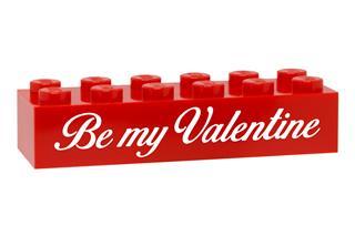 LEGO GLK081 - LEGO gravírozott kocka - Be my Valentine (piros)
