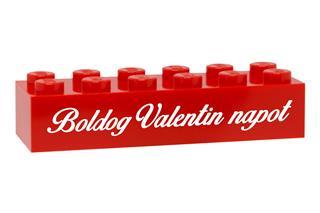 LEGO GLK082 - LEGO gravírozott kocka - Boldog Valentin napot (piros)