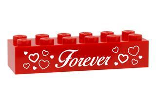 LEGO GLK083 - LEGO gravírozott kocka - Forever (piros)