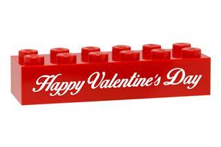 LEGO GLK084 - LEGO gravírozott kocka - Happy Valentine's Day (piros)