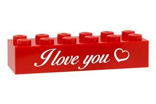 LEGO GLK085 - LEGO gravírozott kocka - I love you (piros)