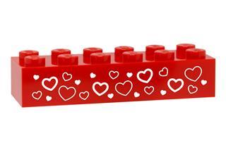 LEGO GLK088 - LEGO gravírozott kocka - Szivecskék (piros)